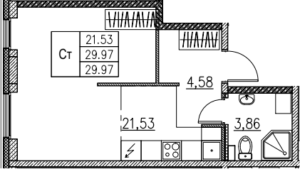 Студия, 29.97 м²– 2