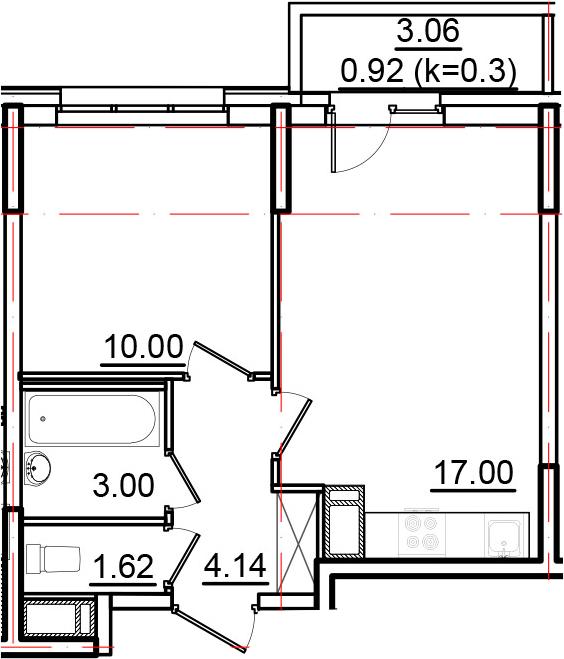 2Е-к.кв, 36.68 м², 10 этаж