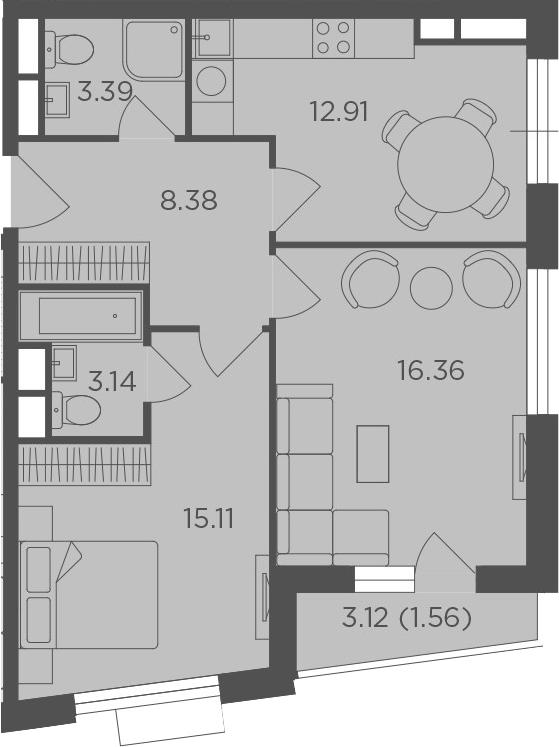 2-комнатная, 60.85 м²– 2