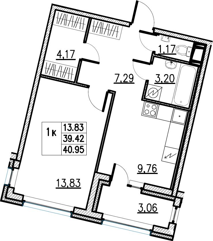 1-комнатная, 40.95 м²– 2