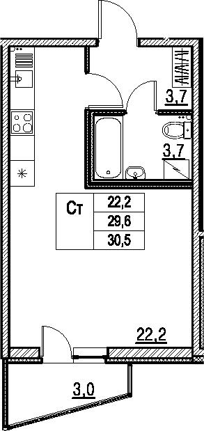 Студия, 30.5 м², 1 этаж – Планировка