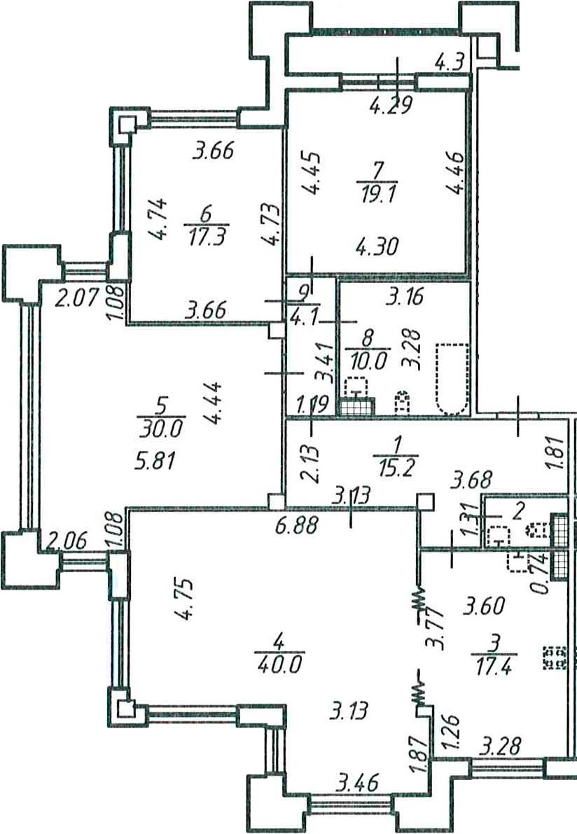 4-к.кв, 159.6 м²