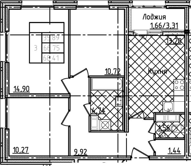3-к.кв, 68.41 м²