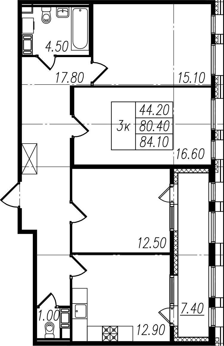 3-комнатная квартира, 80.4 м², 8 этаж – Планировка