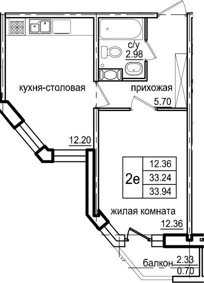 1-к.кв, 35.57 м²