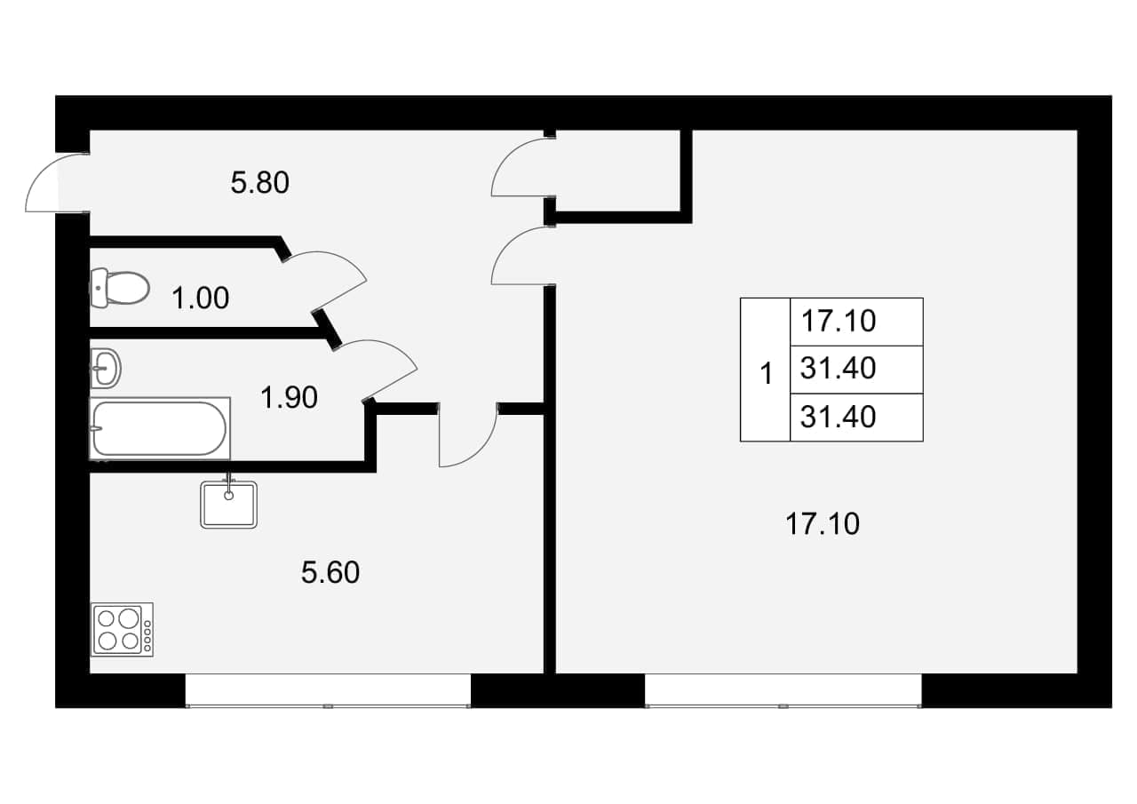 1-к.кв, 31.4 м²