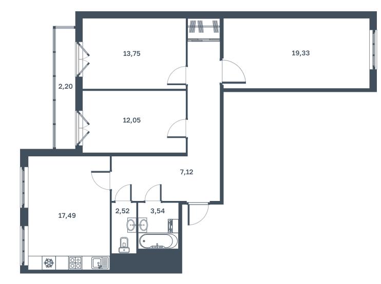 3-к.кв, 88.1 м², от 4 этажа