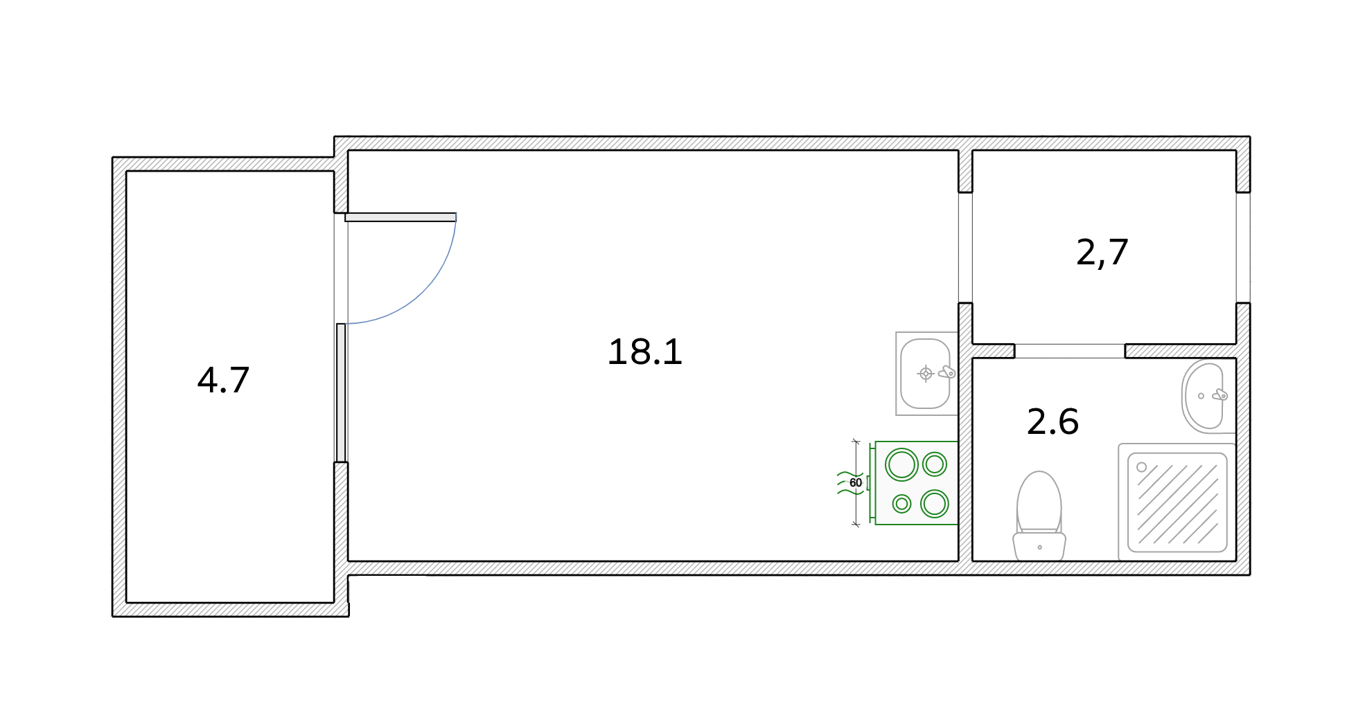 Студия, 25.75 м²