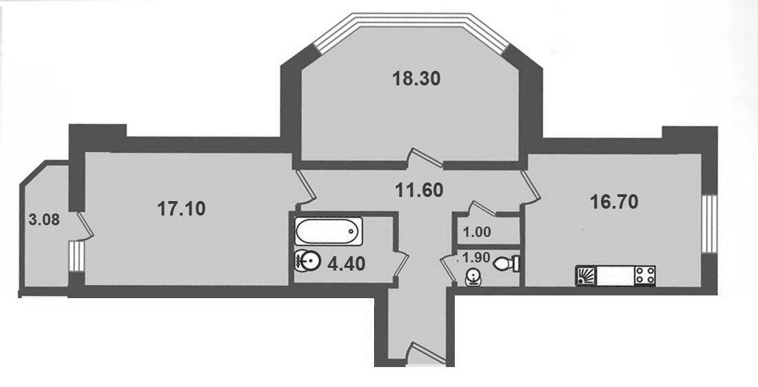 2-к.кв, 74.08 м²