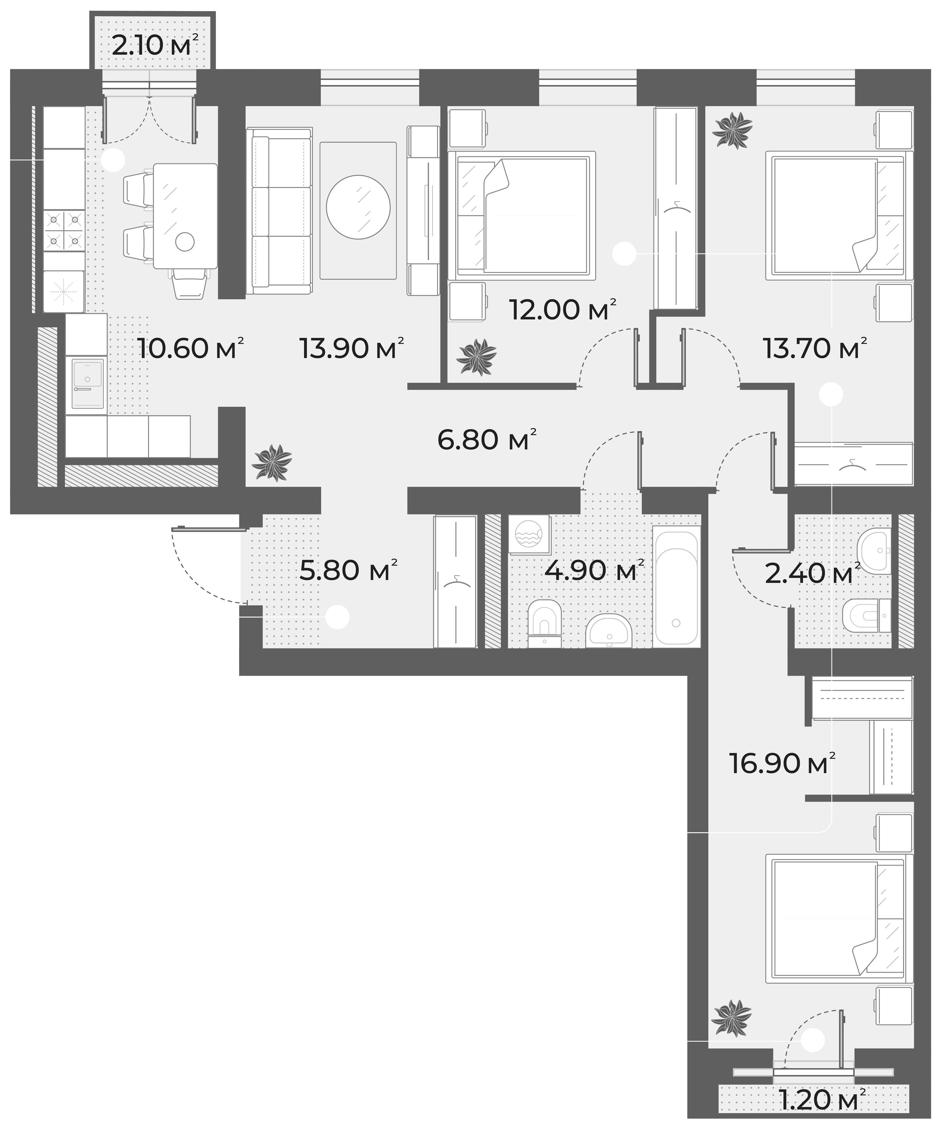 4-к.кв, 87 м², 4 этаж