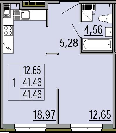 2Е-комнатная, 41.46 м²– 2