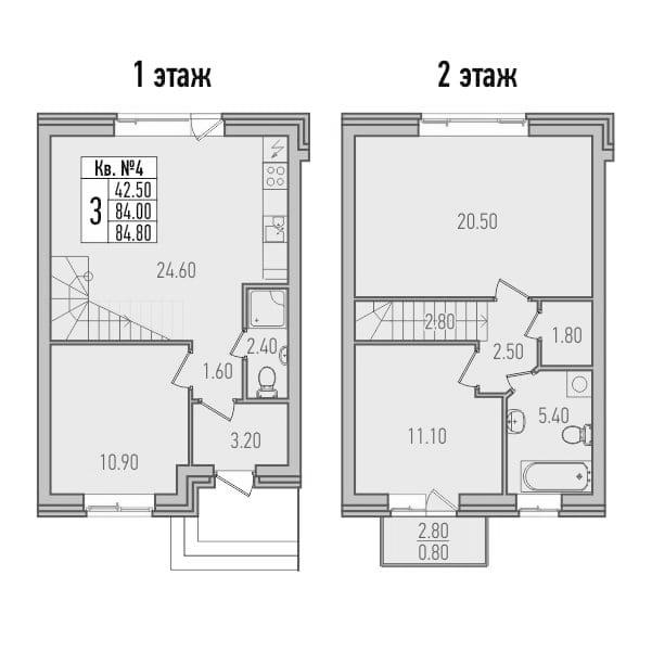 3-к.кв, 86.67 м²
