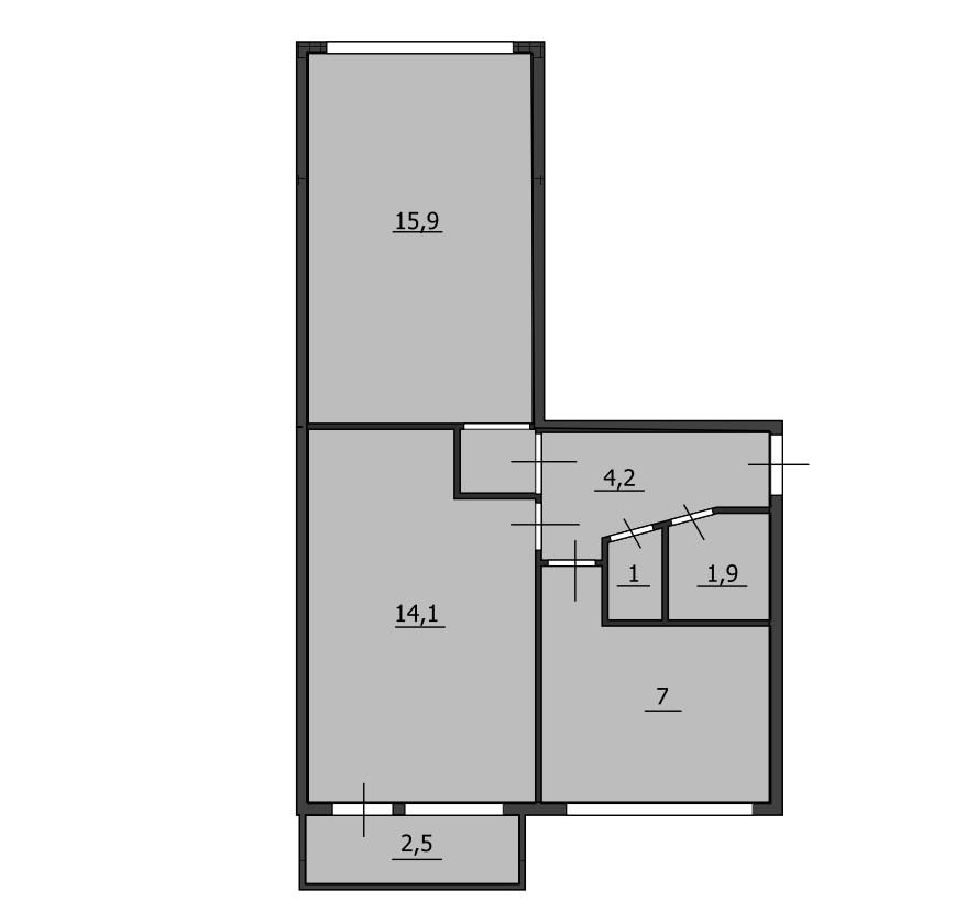 2-комнатная квартира, 44.1 м², 5 этаж – Планировка