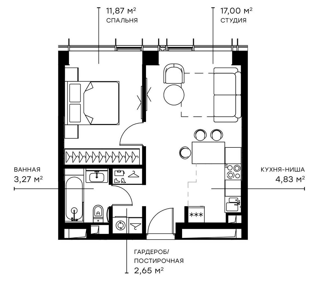 2Е-комнатная, 39.62 м²– 2
