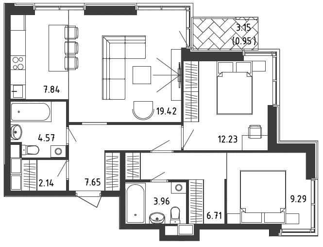 3Е-к.кв, 74.6 м², 2 этаж