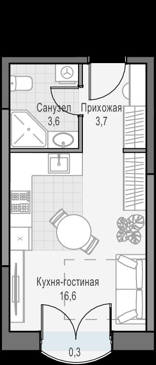 Студия, 24.7 м²