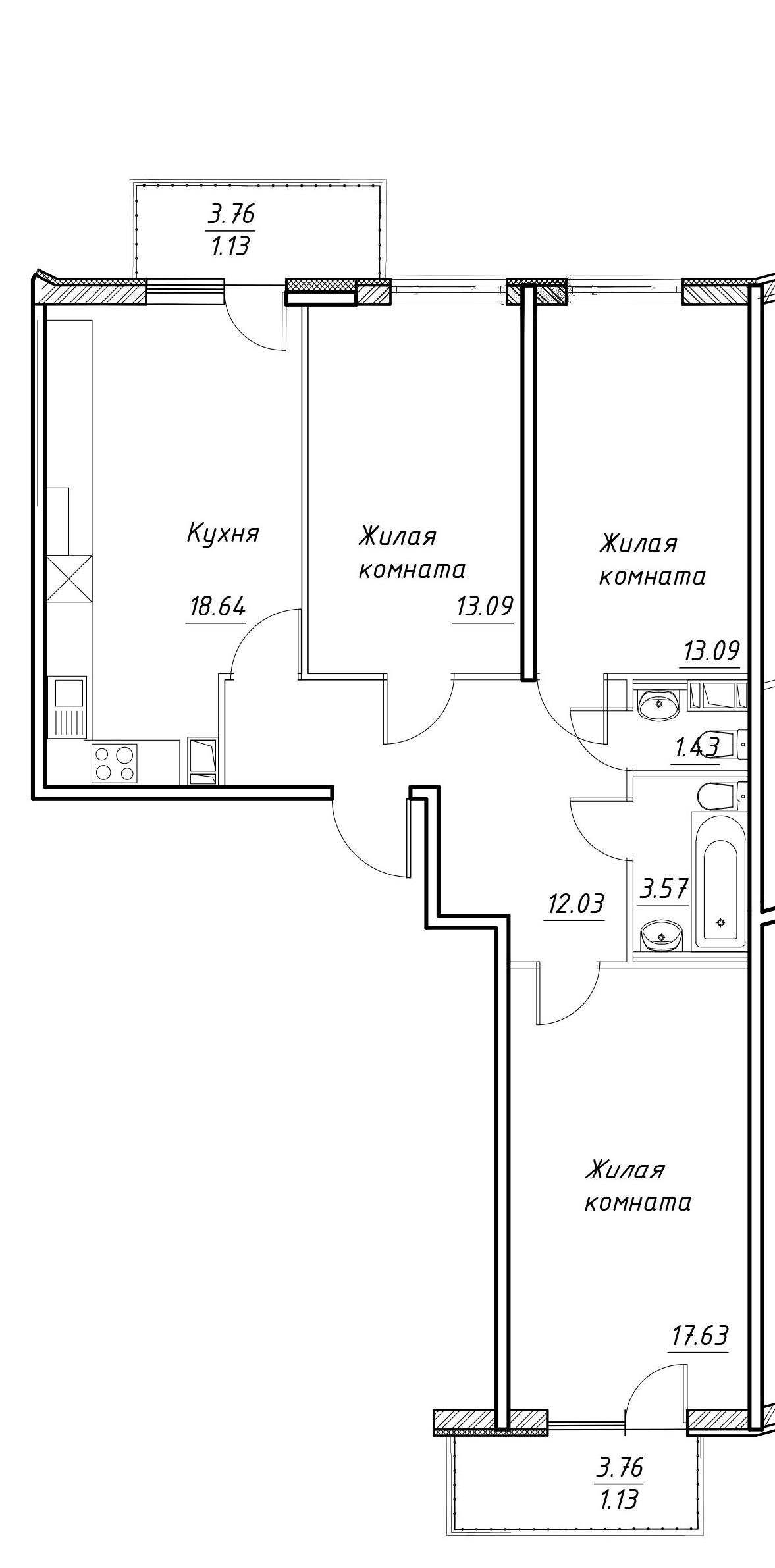 3-к.кв, 86.14 м²