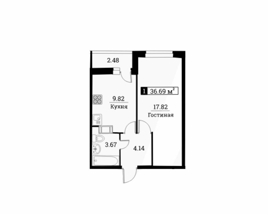 1-к.кв, 37.93 м²
