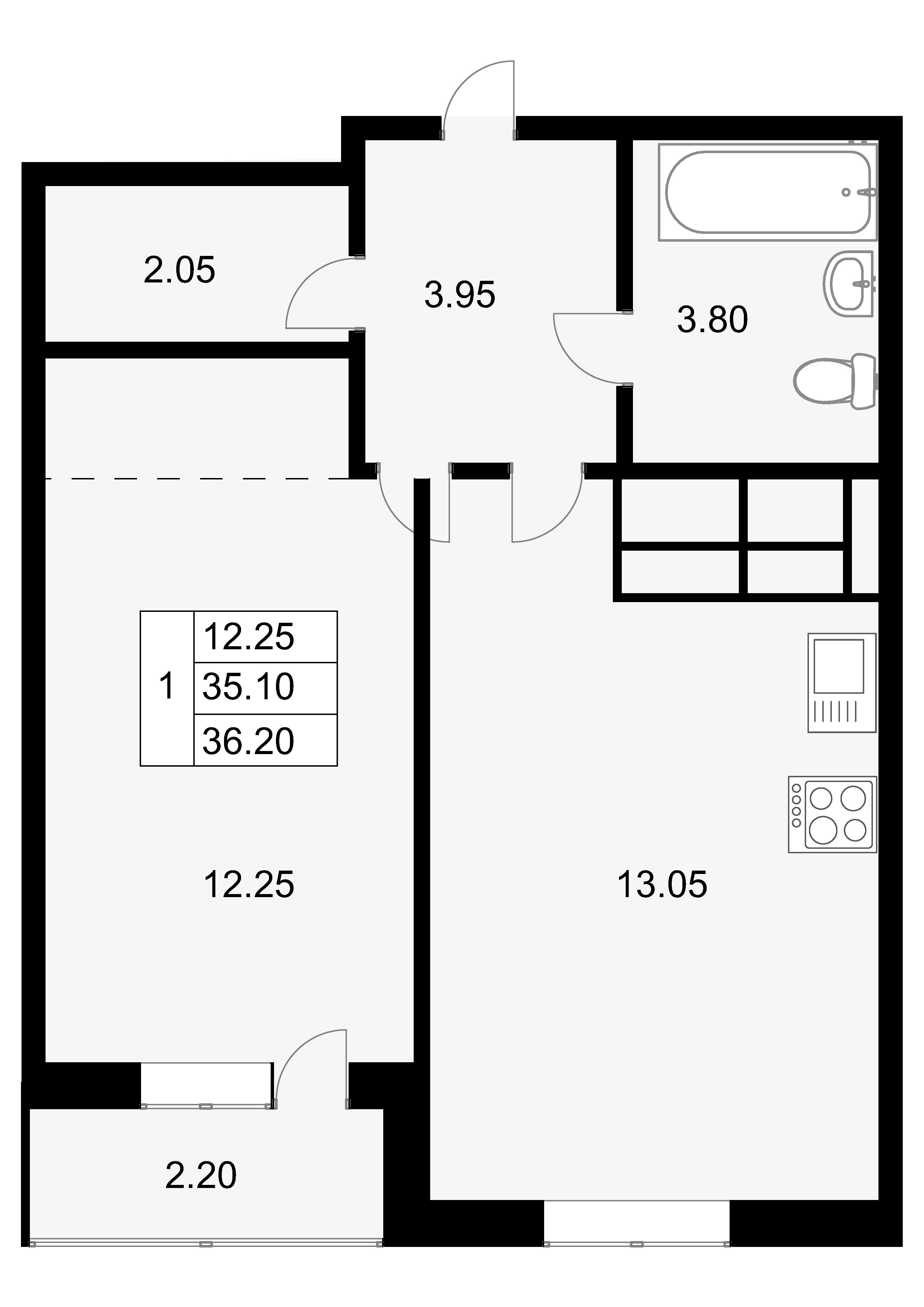 1-к.кв, 37.3 м²
