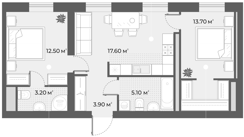 3Е-к.кв, 56 м²