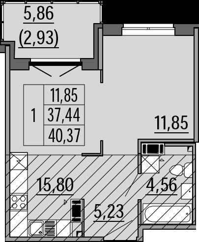 2Е-к.кв, 40.37 м², 4 этаж