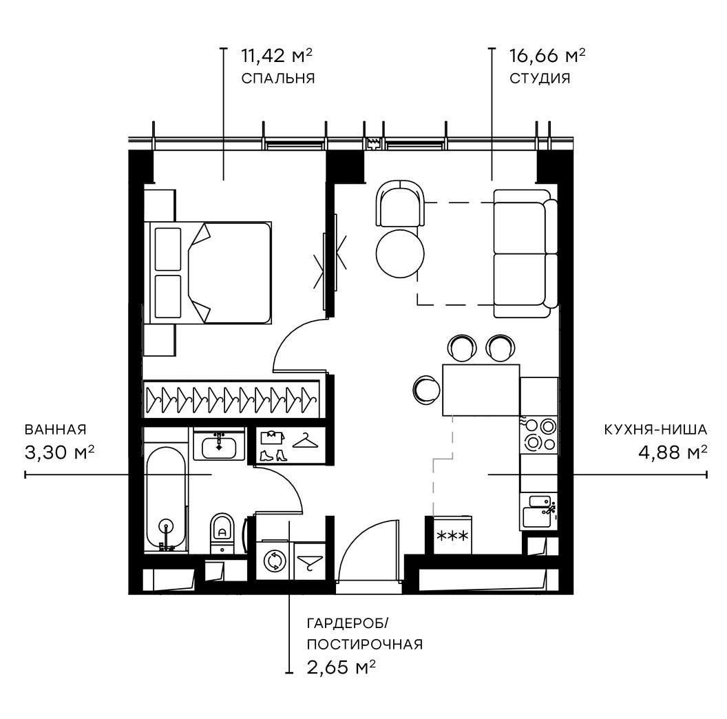 2Е-комнатная, 38.91 м²– 2