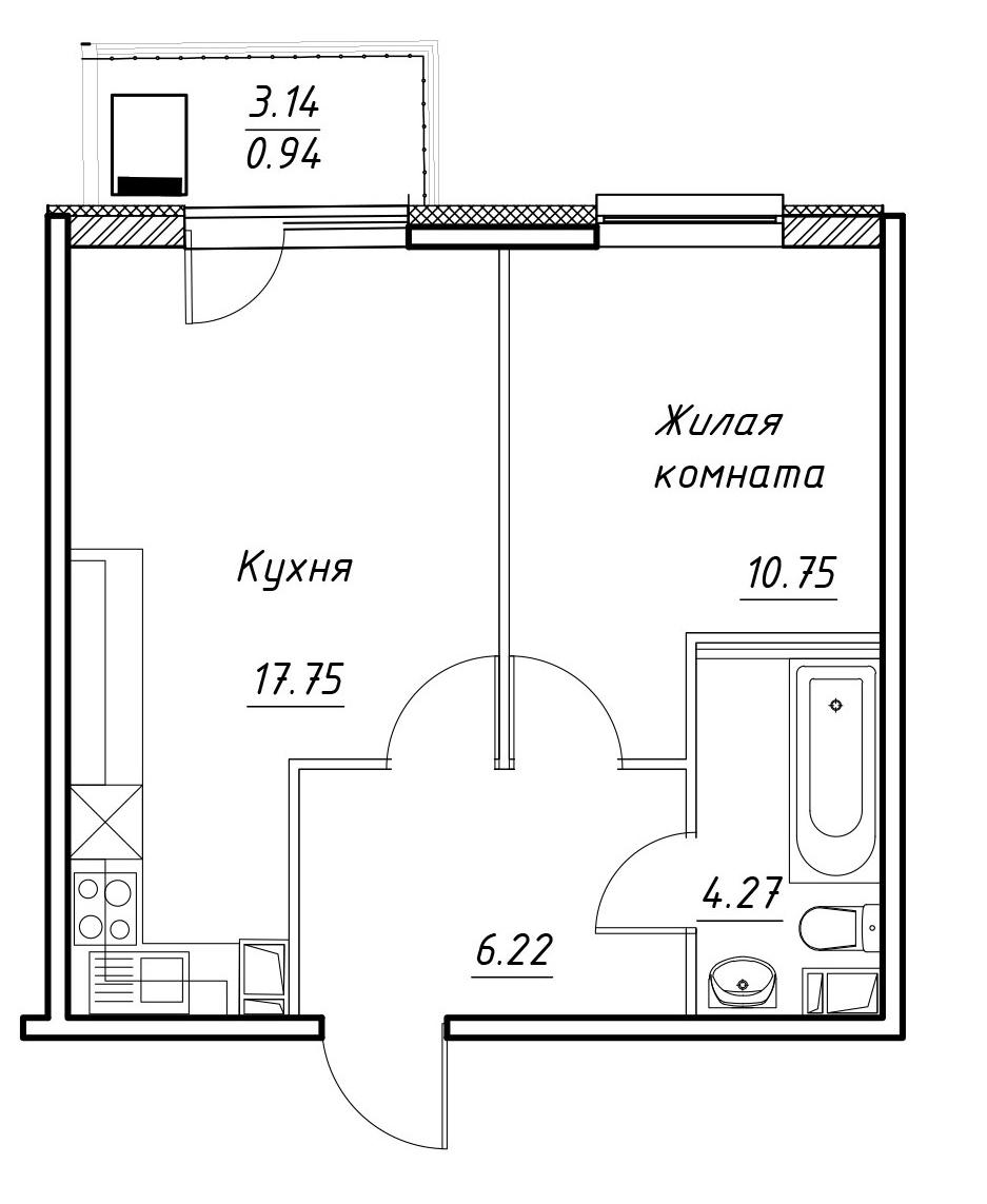 2-к.кв (евро), 42.13 м²