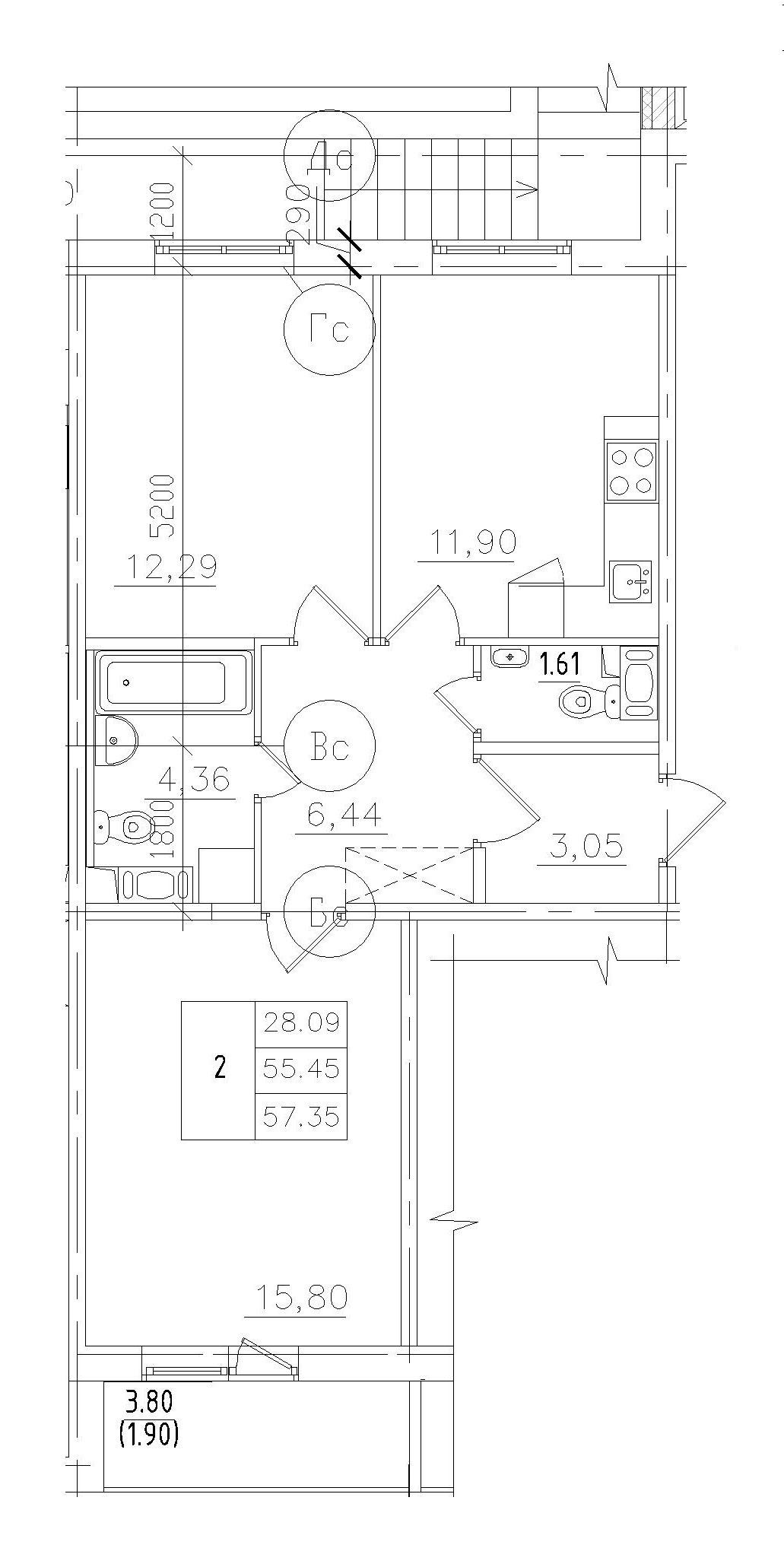 2-комнатная, 54.26 м²– 2