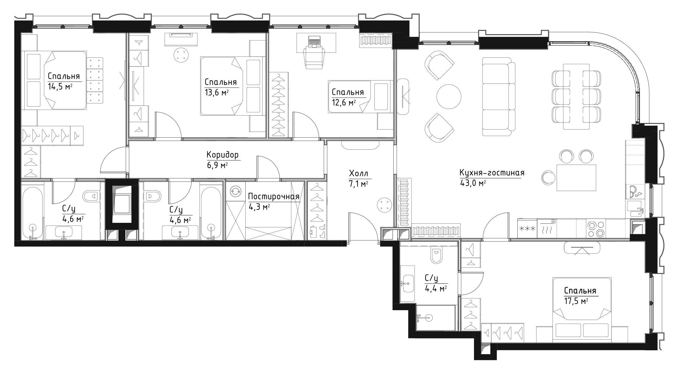 5Е-к.кв, 133.1 м²