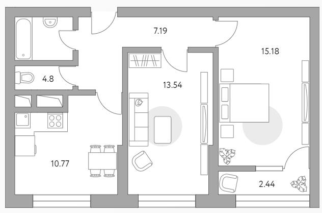 2-к.кв, 53.92 м²