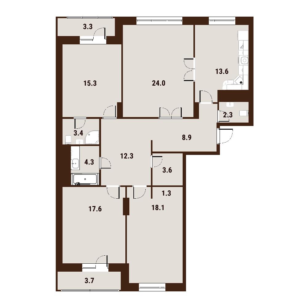 4-к.кв, 132 м²