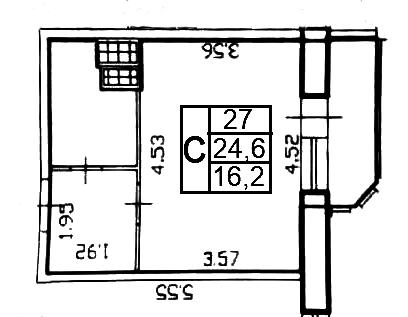 Студия, 26.52 м²