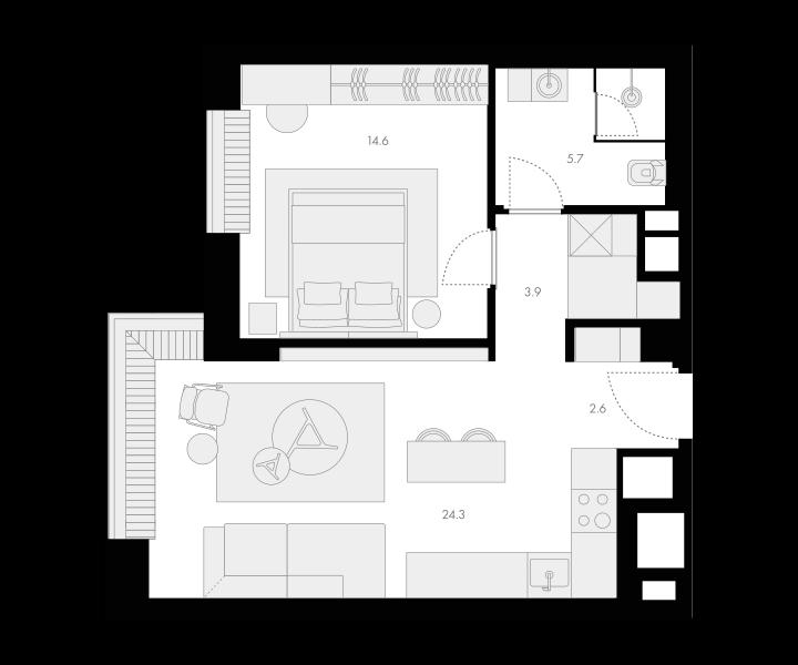 2Е-комнатная, 51.1 м²– 2