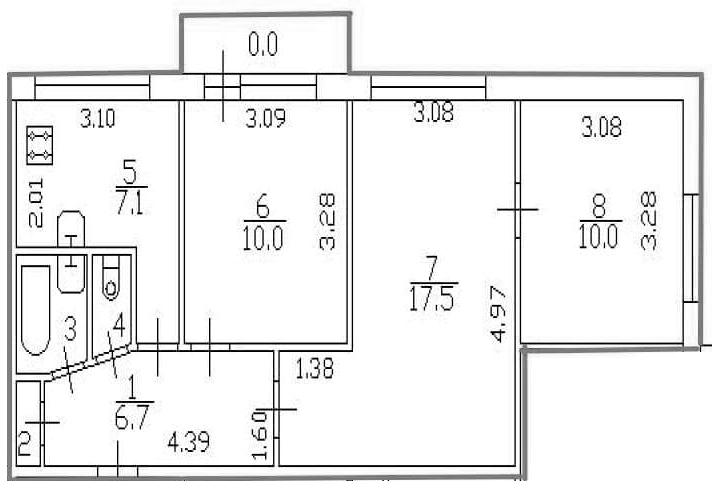 3-к.кв, 55 м²