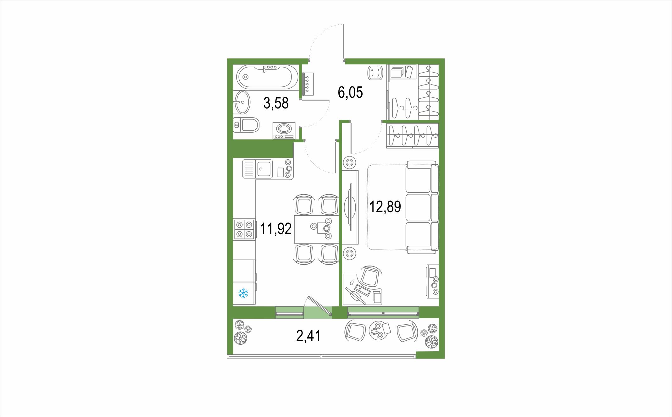1-к.кв, 36.85 м², 20 этаж