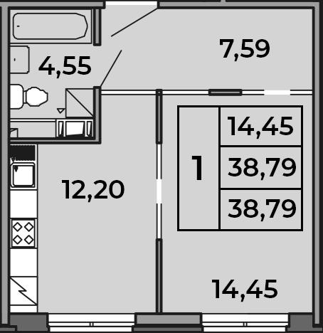 1-к.кв, 38.79 м², 4 этаж