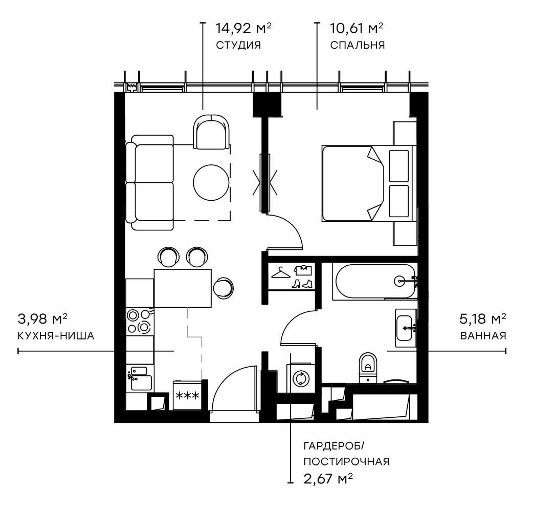 2Е-комнатная, 37.36 м²– 2