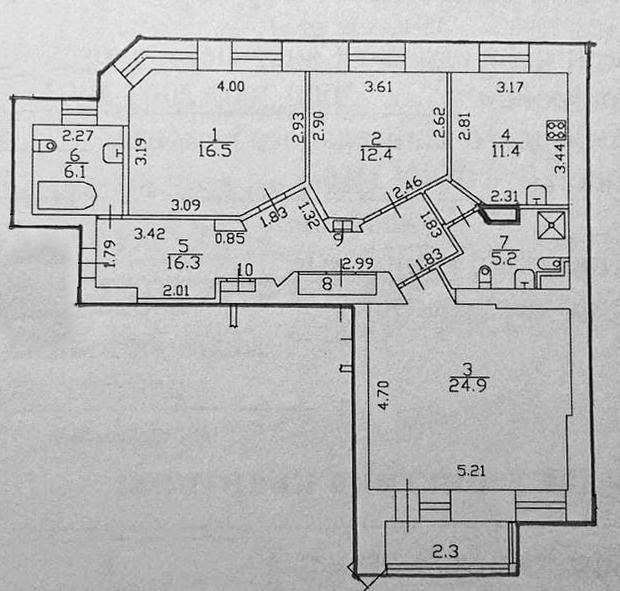 3-к.кв, 95.1 м²