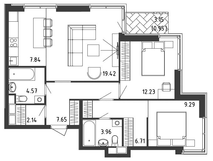 3-к.кв (евро), 76.12 м²