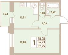 1-комнатная, 37.95 м²– 2