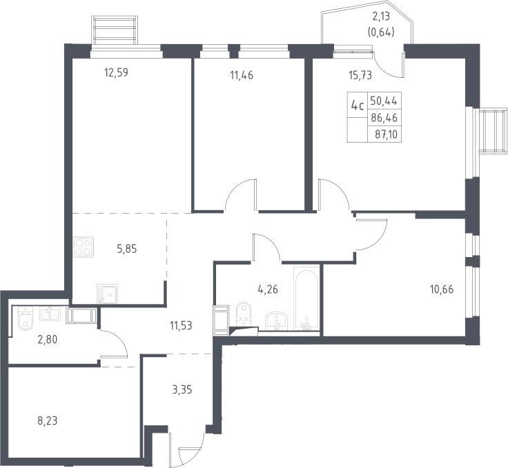 5Е-комнатная, 87.1 м²– 2