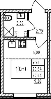 Студия, 20.64 м²– 2