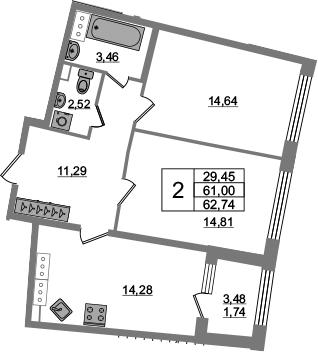 2-к.кв, 64.48 м²