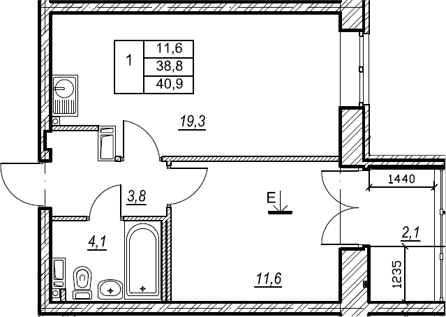 1-к.кв, 40.9 м², от 8 этажа