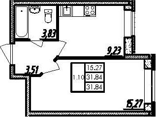 1-комнатная, 31.84 м²– 2