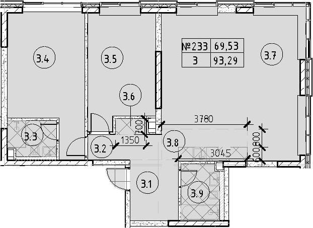 3Е-к.кв, 93.29 м²