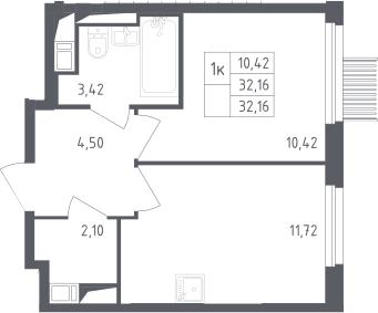 1-комнатная, 32.16 м²– 2