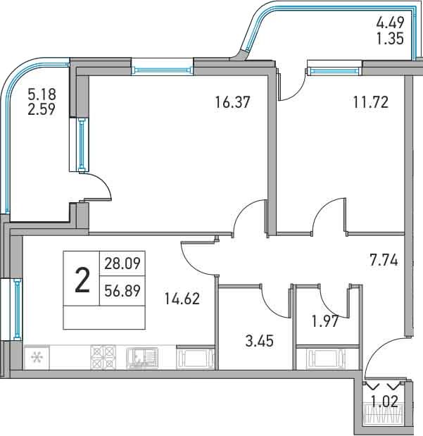 2-к.кв, 66.56 м²