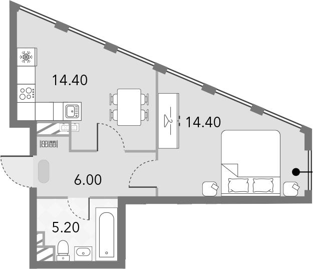 1-комнатная, 40 м²– 2
