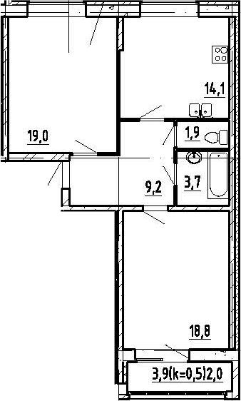 2-к.кв, 69 м², 4 этаж